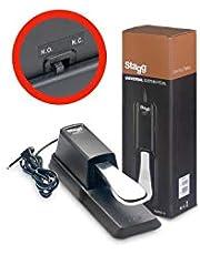 Stagg 21203 förkromad pedal med polaritetsbrytare för e-piano/tangentbord (1,5 m, lång kabel, 6,3 mm telekontakt)