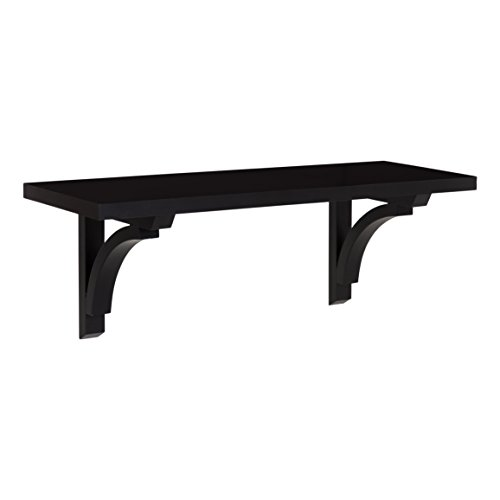 Kate and Laurel Corblynd Traditional Wood Wall Shelf, 24 inches, Black