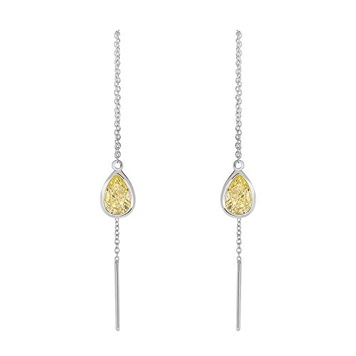 Sterling Silver 1.5 cttw CZ Pear Shape Bezel Drop Threader Dangle Earrings - Other Colors, Yellow