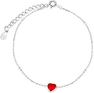 أساور لامعة على شكل قلب أحمر اللون للنساء أساور فضية سلسلة أساور هدية مجوهرات لحفلات الزفاف