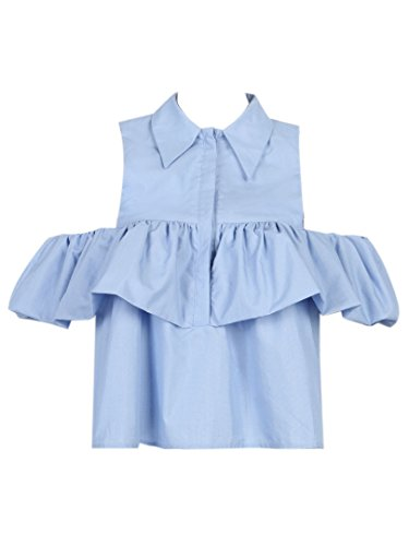 Joeoy Women's Blue Cold Shoulder Ruffle Button Down Shirt Blouse-M