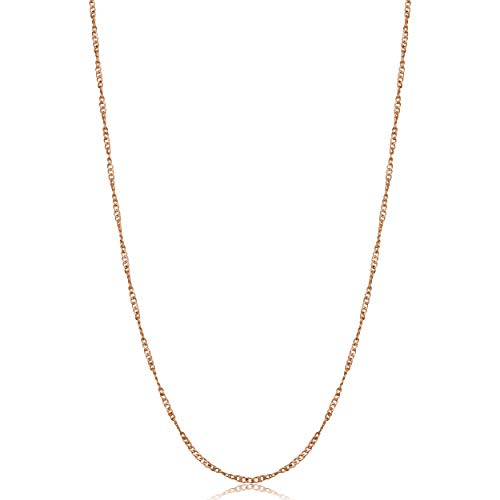 (Rose Gold Plated Sterling Silver Twisted Curb Chain Necklace (1 mm, 22 inch))