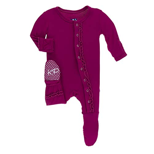 Kickee Pants Little Girls Solid Muffin Ruffle Footie Snaps - Dragonfruit, 0-3 Months (Snap Pajama Pant)