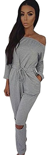 ALAIX Women's off-Shoulder Bodycon Knee Hole Pants Party Club Jumpsuits Rompers-Grey-XXL