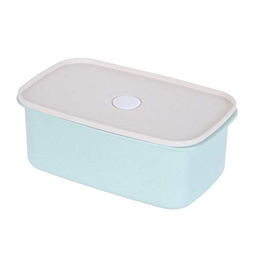 MINISO Wheat Food Container,Plastic Lunch Box,Fridge Storage Container for Kitchen,950ml(Green)