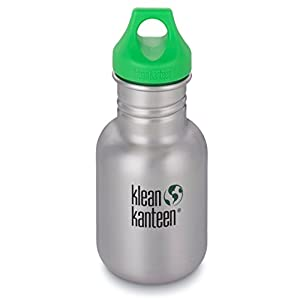 Klean Kanteen Kid's Stainless Steel Bottle with Loop Cap, Silver, 12-Ounce