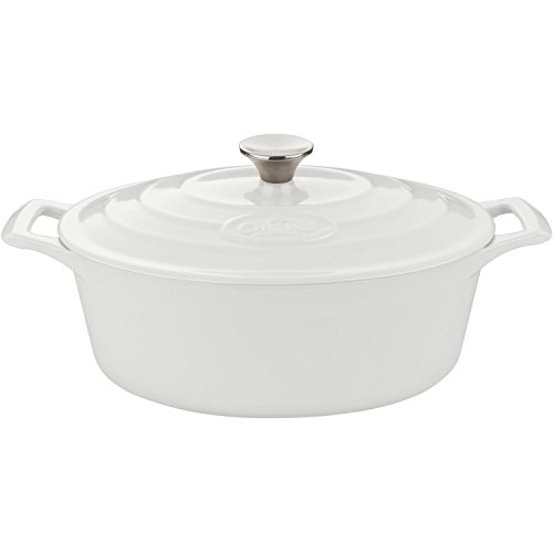 White Oval Covered Casserole (La Cuisine 4.75 Qt Enameled Cast Iron Oval Covered Dutch Oven, White)