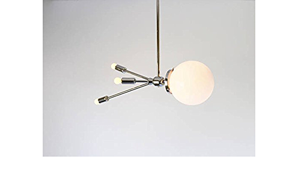 Vintage Mid Century Space Age Glass Globe Ceiling Pendant  Swag Fixture