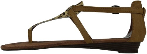 Damen Römer Sandaletten Zehentrenner Leopard Look mit Riemchen