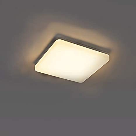 QAZQA Moderno Plafón moderno cuadrado blanco LED sensor de movimiento - PLATER Plástico Cuadrada Incluye LED Max. 1 x 18 Watt: Amazon.es: Iluminación