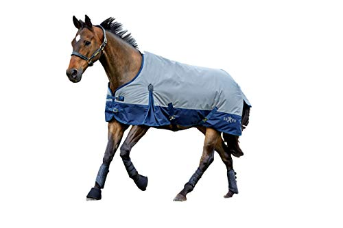 Saxon 600D Standard Neck Lite 2 Tone Turnout Sheet with Gussets, Gray/Navy, Size 78