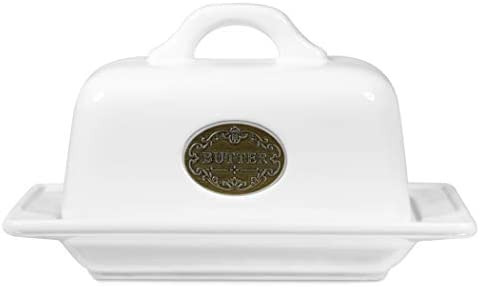 Ceramic Butter Crock TAWCHES Butter Keeper Porcelain French Butter Dishes With Covers Butter Holder White
