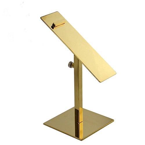 (Adjustable Gold Polished Metal Shoe Riser Sandal Shoe Store Metal Shoe Display Stand Rack 1 Pack)