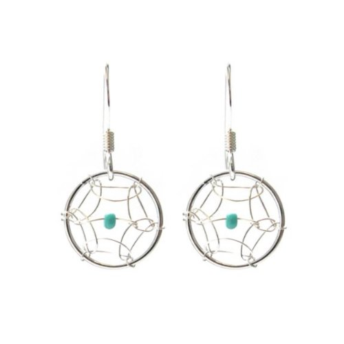 [Dream Catcher Sterling Silver Turquoise Imitation Very Small Tiny Hook Earrings] (Spider Gem Earrings Child)