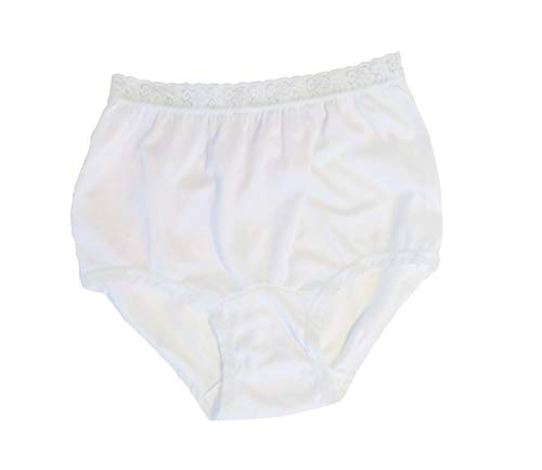 Women's White Nylon Lace Trim Panties Size 5 (3-Pack) (Nylon Brief Panty White)