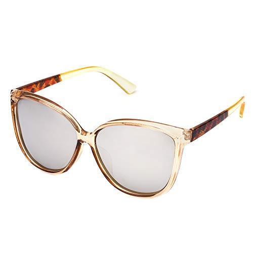 Transparent Frame Silver (LVIOE Cat Eye Sunglasses for Women, Polarized Mirrored Lens with UV Protection, Trendy Cateye Lightweight Frame Sun Glasses (Transparent Brown, Silver Mirrored Lenses))