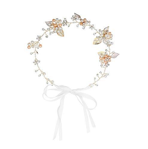 - Rhinestone Crystal Wedding Bridal Floral Leave Headband Hair Vine Tiara with Ribbon Belt (Gold)