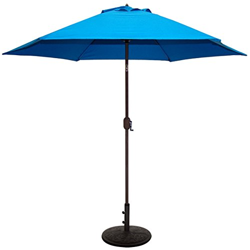 Base 9 Market Umbrella (TropiShade 9 ft Patio Umbrella Bronze Aluminum Frame with Royal Blue Polyester Cover)