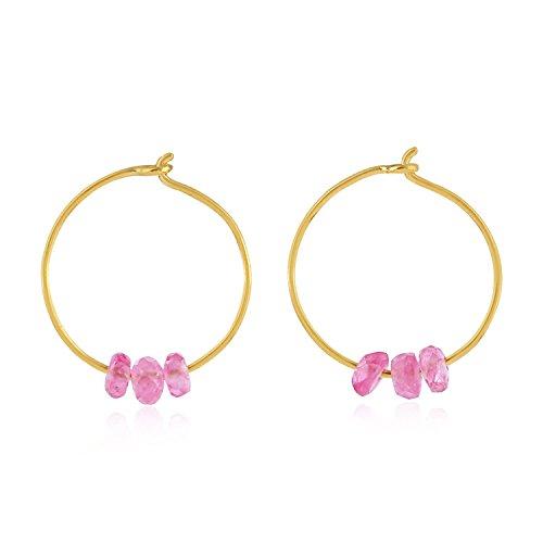 14K Yellow Gold Natural Pink Sapphire Beads Hoop Earrings for Women (12 MM) (yellow-gold, pink-sapphire) ()