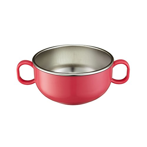 Innobaby Din Din Smart Stainless Steel 11 oz Feeding Bowl with Handles for Babies, Toddlers and Kids. BPA free, Pink
