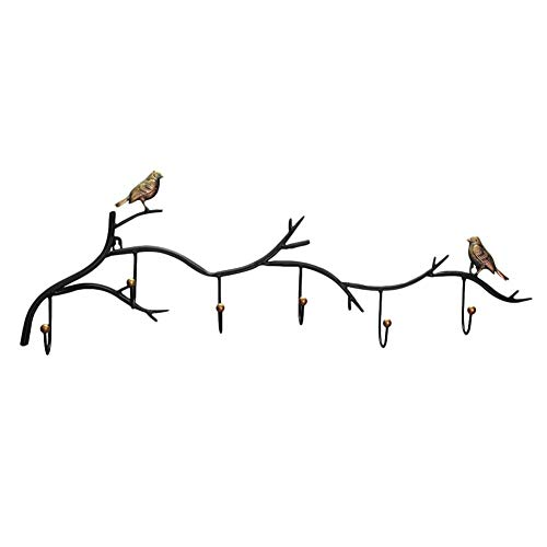 - dissylove Decor Wall Mounted Coat Rack | Birds On Tree Branch Hanger with 6 Hooks | for Coats, Hats, Keys, Towels, Clothes Storage Hanger
