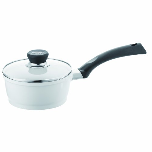 Berndes SignoCast 697602 Pearl Ceramic Coated 1.25 Quart Saucepan with 6.75 Inch D Glass Lid