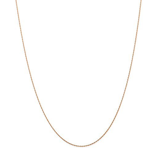 14k Carded Rope Pendant - Jewelryweb 14k Pink Rose Gold 24-inch .5 mm Carded Cable Rope Pendant Chain Necklace