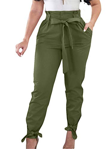 Tie Top Pant - GOBLES Women Solid Casual Work Trousers High Waist Ruffle Bow Tie Pants Green