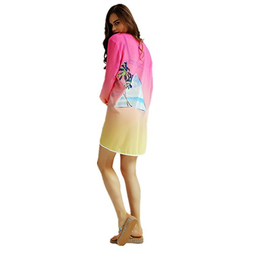 HYHAN Dulce temperamento elegante fresco rosa camisas de Joker delgado impreso manga larga 1