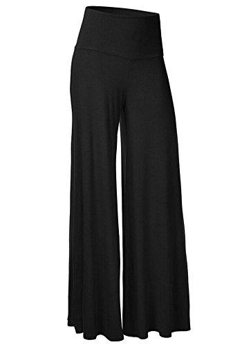 Women's Comfy High Waist Harem Pants Casual Dress Flowy Full Length Long Wide Leg Trousers Black,M UPS Post by CFR