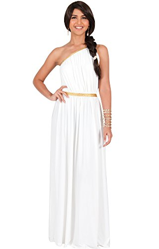 KOH KOH Womens Long One Shoulder Grecian Belted Flowy Summer Gown Maxi Dress