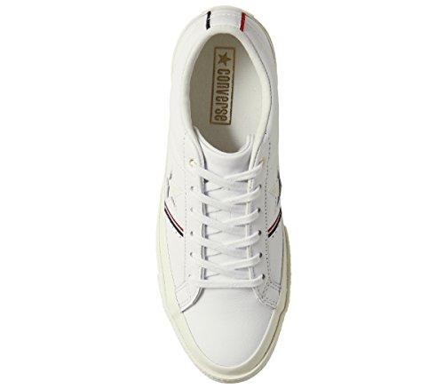 Converse Lifestyle One Star Ox Leather, Scarpe da Fitness Unisex – Adulto Bianco (White/Enamel Red/Egret 102)