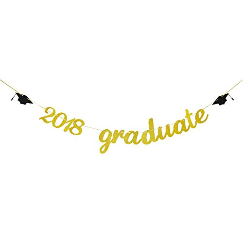 (Gold Glitter 2018 Graduate Banner | Graduation Party Supplies 2018 | 2018 Grad Graduation Party)