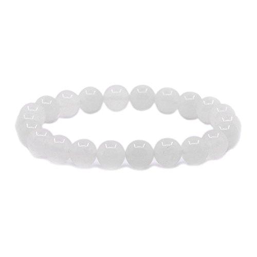 White Stone - Natural White Quartz Gemstone 8mm Round Beads Stretch Bracelet 7