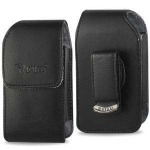 Samsung JitterBug Plus SCH R220 and JitterBug J SPH A310 Vertical Leather Case with Swivel Belt Clip and Magnetic Closure 3.86