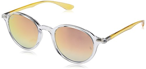 Ray-Ban Injected Unisex Non-Polarized Iridium Round Sunglasses, Transparent, 50 - Clear Ray Clubmaster Ban Lens