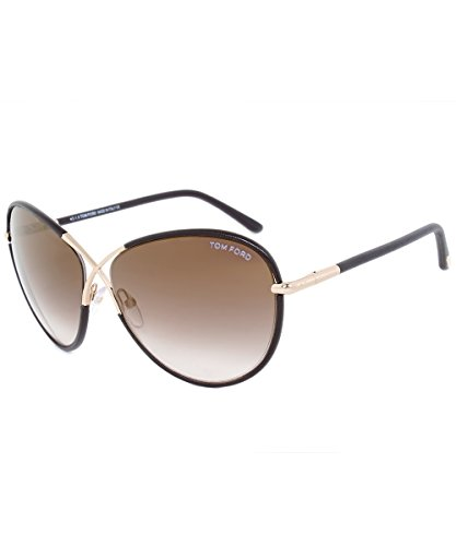TOM FORD FT0344 Rosie Sunglasses Brown Leather w/Brown Gradient (48G) TF 344 48G 62mm - Ford Sunglasses Leather Tom
