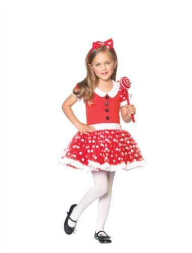 Lil' Lollipop Girl Cute Girls Halloween Costume (Red, XS (3-4) ) (XS)
