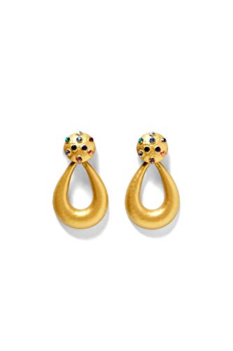 Global Huntress Large Tear Drop Shaped Yellow Gold Tone Studded Clip Earrings with Multi Colored Crystal Stones Drop Dangle Earrings ()
