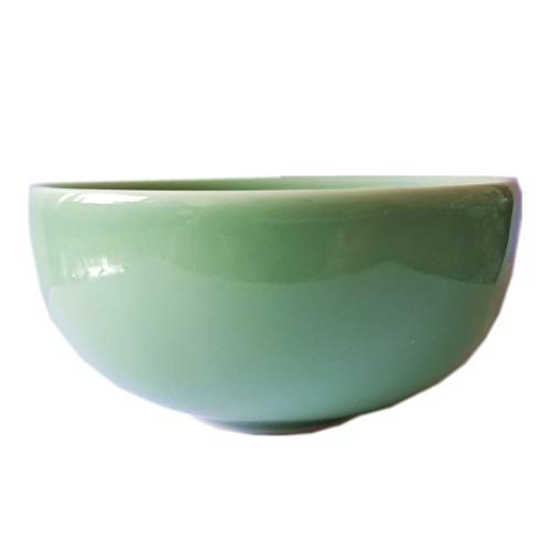 Rice Bowl 10-Ounce Chinese Celadon 4.5Inch Porcelain Microwave and Dishwasher Safe(Set of 4) (Green)