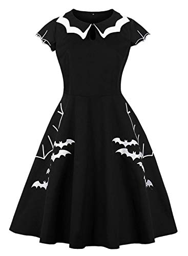 MERRYA Women's Halloween Party Swing Dress Petite Bat Spider Print Embroidery Size M (Black) ()