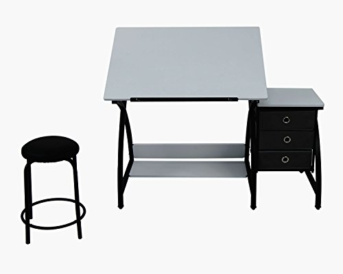 Offex Home Comet Center with Stool Black / White by Offex