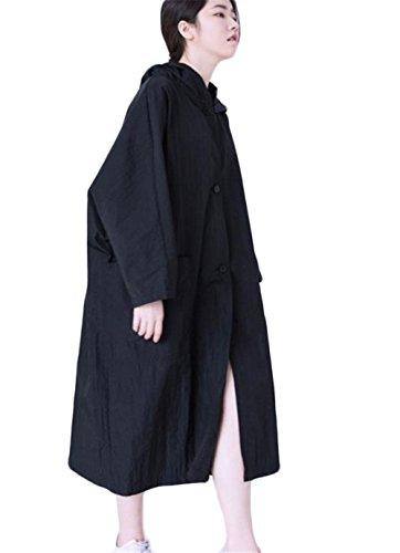 [ヤンーチ] レディース ウインドブレーカー フードコート ロング丈 ゆったり 夏 紫外線対策 無地