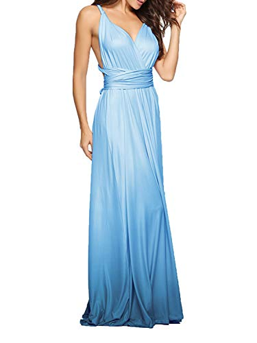 CHOiES record your inspired fashion Women's Infinity Gown Dress Multi-Way Strap Wrap Convertible Maxi Dress (Small, Tie-Dye-Peacock Blue) ()