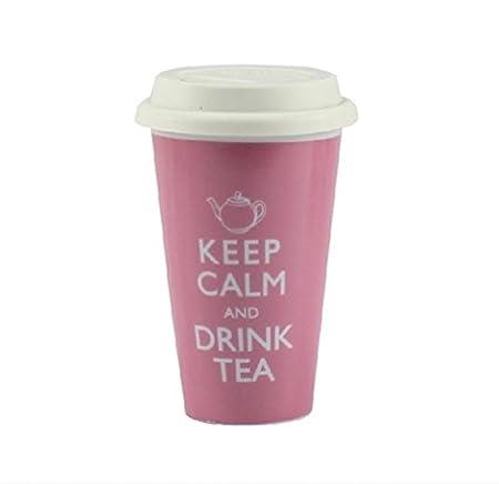 Robert Taubman Ltd - Tazza da viaggio con doppio rivestimento in ceramica e coperchio in silicone con scritta Keep calm and drink tea LP19385