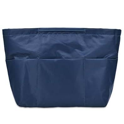 BES CHAN Multi-Pocket Bag in Bag Insert Organizer Tote Purse Handbag Liner Handle-M/L Blue Size: Medium