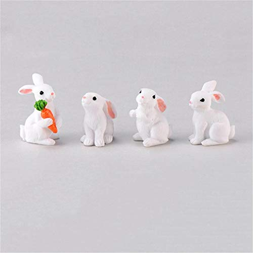 4Pcs/Set New Kawaii Resin White Rabbit Figurines Bonsai