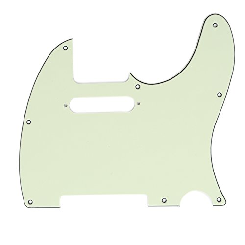 Musiclily Tele Pickguard for US/Mexico Made Fender Standard Telecaster Modern Style Electric Guitar,3Ply Mint Green - Telecaster Bass Pickguard