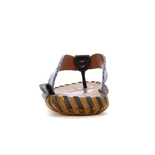 Z.SUO Men's Leather Cozy Fashion Flip-Flop Sandals Black ojKaRjZ
