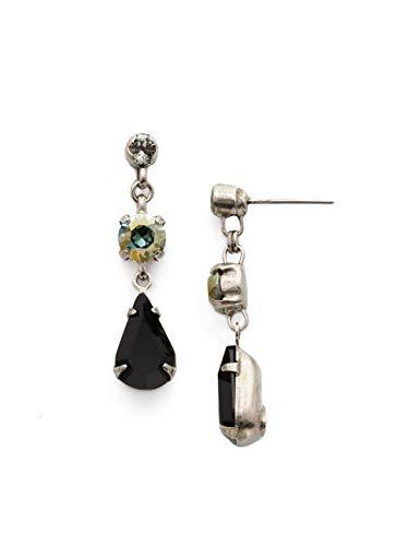 Sorrelli Black Onyx Women's Tiger Lily Trio Drop Earrings, Black, 1.5 ()